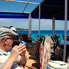 Charlie at a wee restaurant on the beach at Cala Rajada