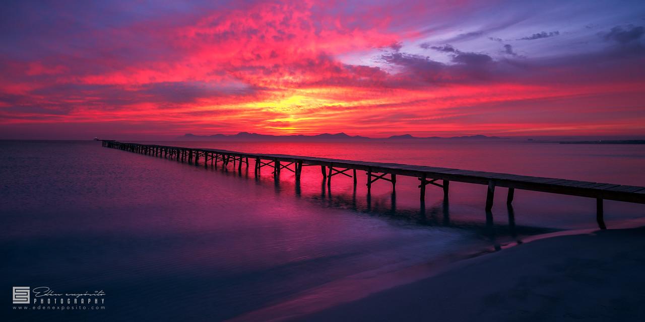 Purple gangway to horizon ship