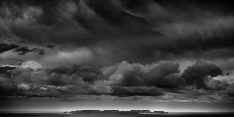 Cabrera Island with dramatic clouds