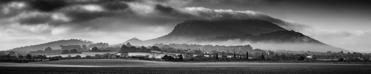 Randa mount with mist near Montuiri (Mallorca)