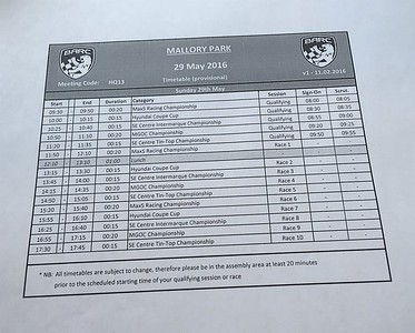 This was today's racing schedule at Mallory Park.