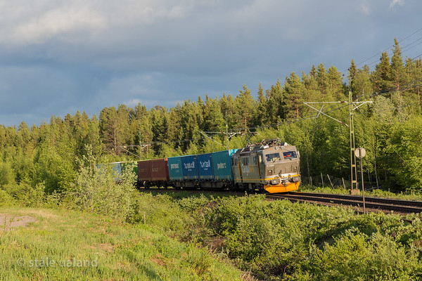 CargoNet El 16 2209 in Arctic Rail Express Oslo-Narvik, service 41916, at Gallivaare 2017-06-04 20:21. Photo: Staale Ualand
