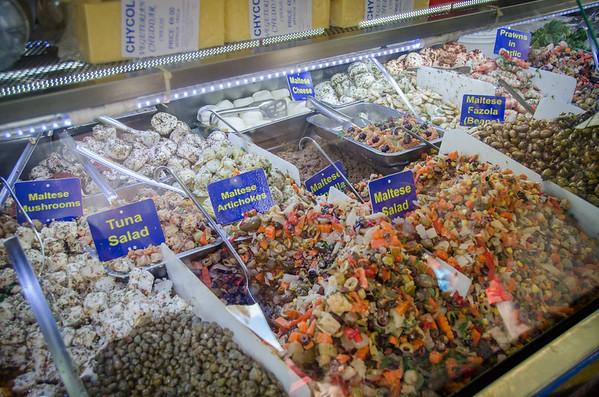 Maltese salad and marinated vegetables at the Marsaxlokk market