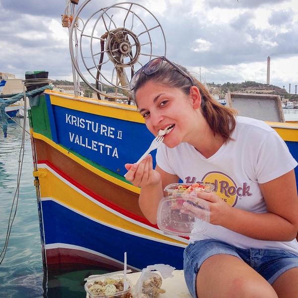 Val enjoying our Maltese picnic - Marsaxlokk Harbor, Malta