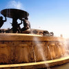 The water fountain at the bus terminal outside Valletta's City Gate