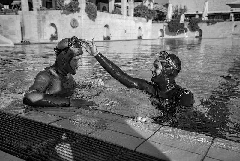 Pool sessions.