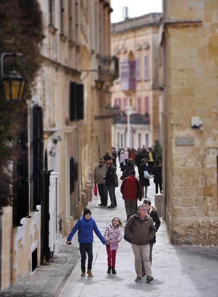 Tourists Walking in Mdina. 2018.