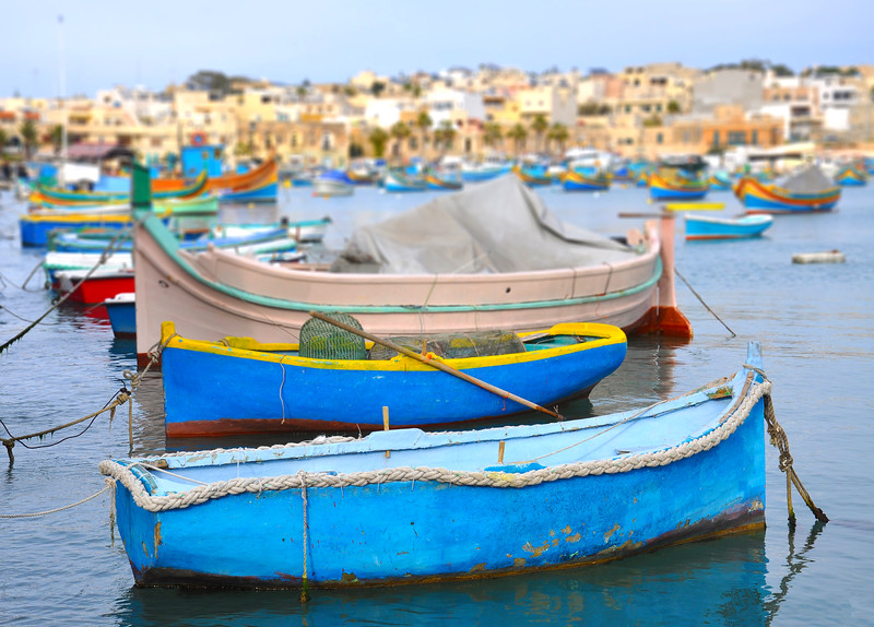 Rowboats in Marsaxlokk Harbour. 2018.