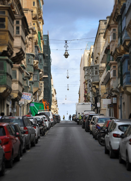 Looking Up a Street in Valletta. 2018.