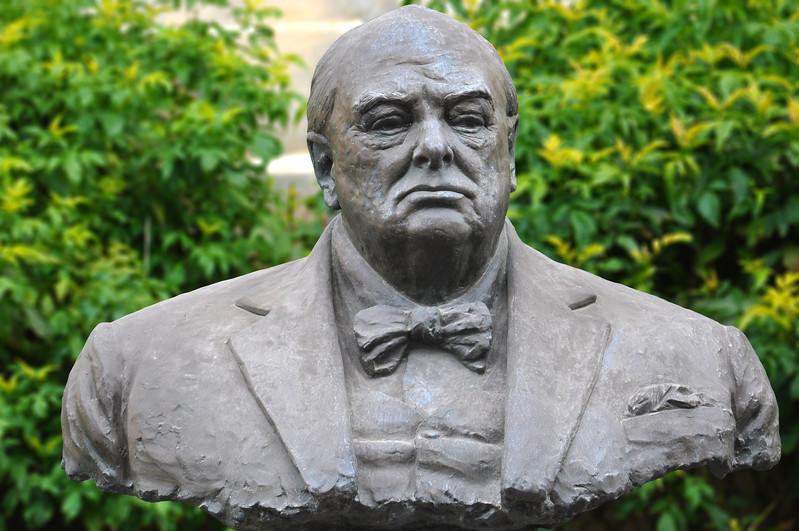 Winston Churchill Statue in Valletta's Upper Barrakka Gardens. 2018.