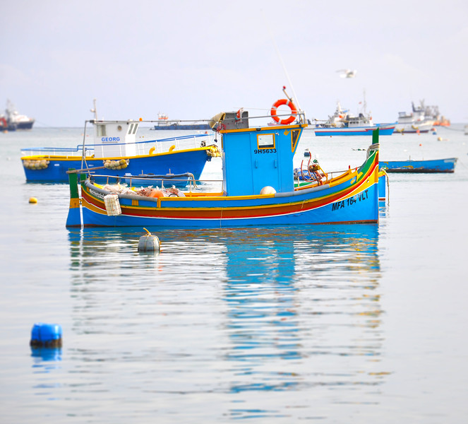 Fishing Boat in the Marsaxlokk Port. 2018.