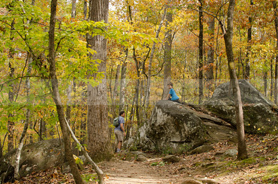 Climbing on some boulders along Brantley Trail in Hard Labor Creek State Park.