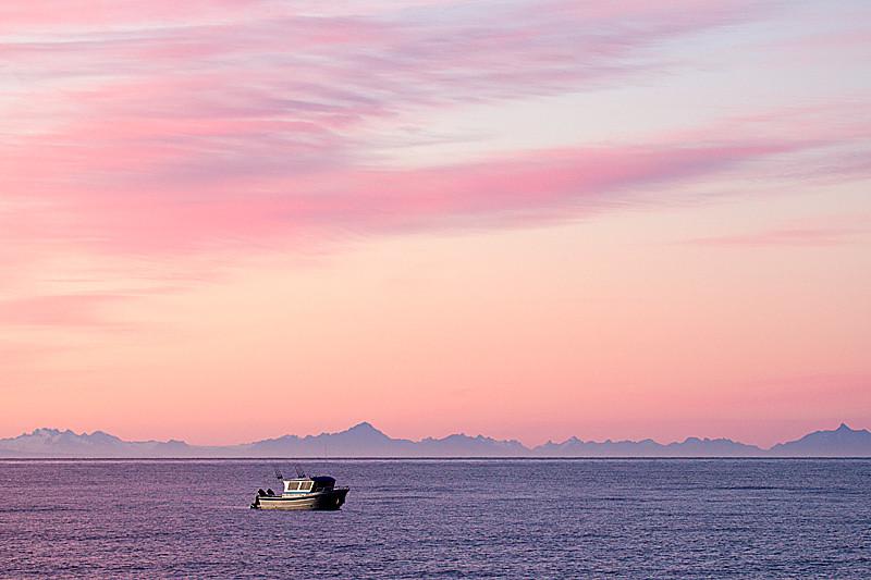 Sunrise Cook Inlet Alaska Mountain Range