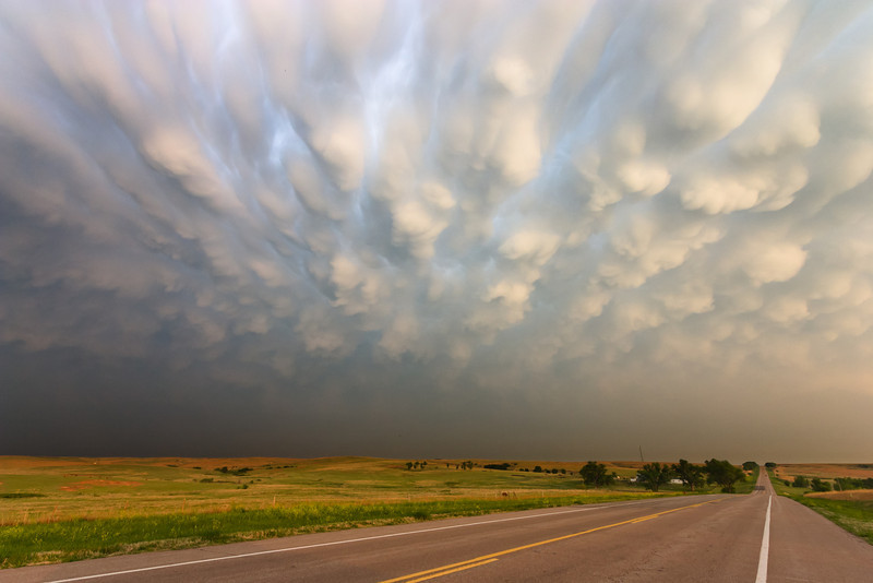 Pronounced mammatus clouds blanket the sky at sunset near Coldwater, KS, on May 22, 2008.