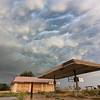 Impressive mammatus clouds loom ahead of an approaching supercell near Clinton, OK, on May 19, 2012.