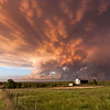 A colorful sunset beneath mammatus clouds graces the Texas Panhandle near Shamrock on May 12, 2009.