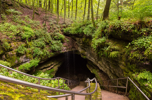 The Historic Entrance at Mammoth Cave National Park is lush and green during summer months in Kentucky