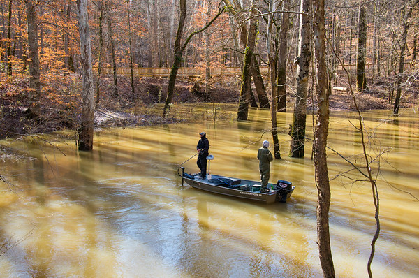 Two men fishing at Echo River Springs Trail - Mammoth Cave National Park