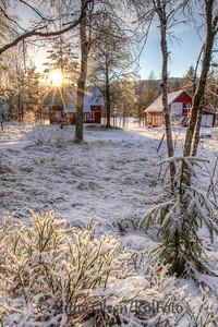 Rød stue i julestemning
