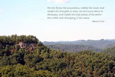 Bible Verse; Amos 4:13. Picture was taken at Natural Bridge.