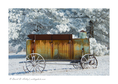 Water Wagon for Threshing Machine in snow, Monument, CO