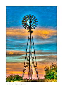 Windmill at sunrise, El Paso County, CO, tone mapped