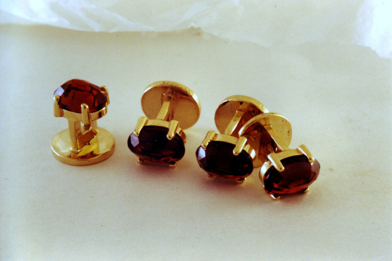Garnet tuxedo studs. The garnets were set upside-down to emulate an older garnet look.