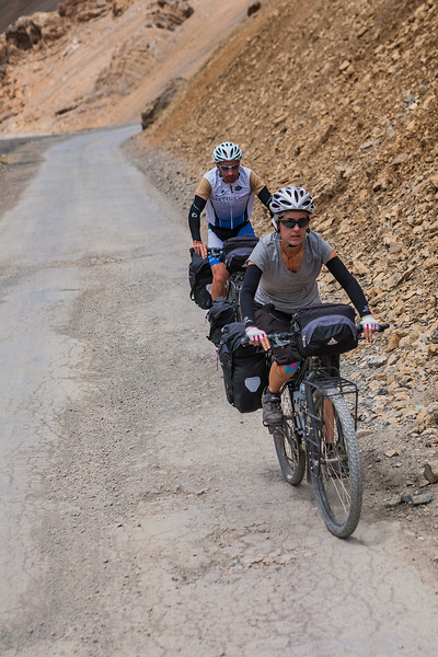 Cyclists on the Leh Manali highway in Ladakh, India
