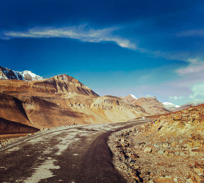 Vintage retro effect filtered hipster style travel image of Manali-Leh road to Ladakh in Indian Hima