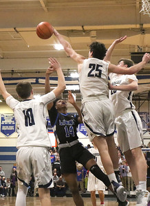 no.10, Ben Roy and no.25, Alex Galvan Manasquan boys basketball v/s Lincoln in Manasquan, NJ on 3/5/19. [DANIELLA HEMINGHAUS | THE COAST STAR]
