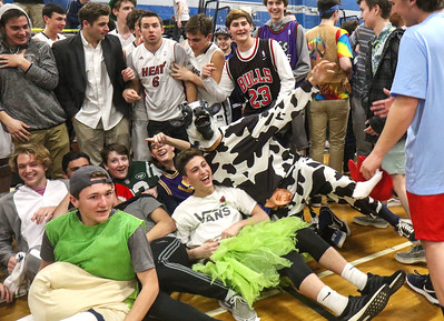 Fans celebrating Manasquan's win Manasquan boys basketball v/s Lincoln in Manasquan, NJ on 3/5/19. [DANIELLA HEMINGHAUS | THE COAST STAR]