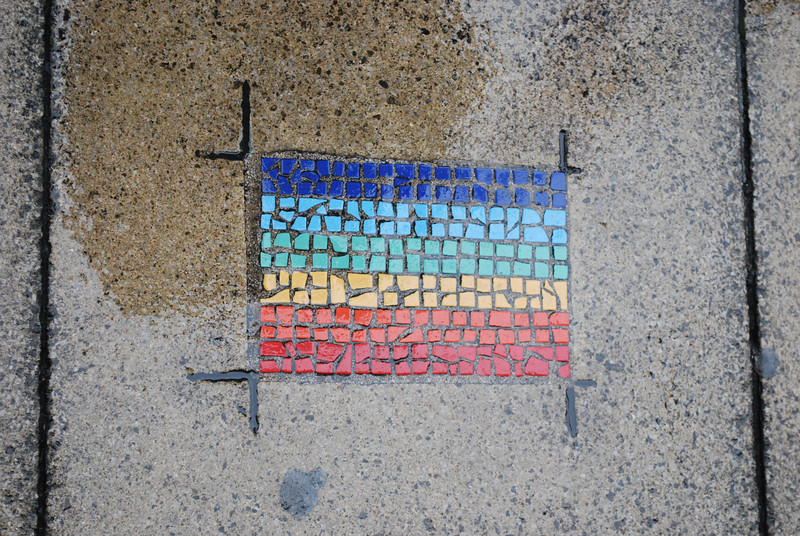 Stops on Manchester's Lesbian and Gay Heritage Trail are marked by mosaic tiles laid into the pavement.