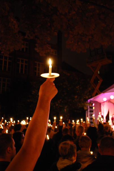 Manchester Pride 2011 winds up with the HIV/AIDS Candlelight Vigil, followed by a spectacular fireworks display.