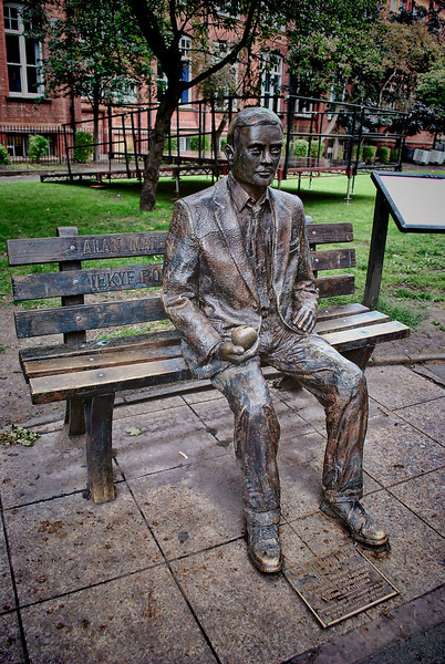 """Father of computer science, mathematician, logician, wartime codebreaker, victim of prejudice,"" reads the dedication to the Alan Turing Memorial in Manchester's Sackville Park."