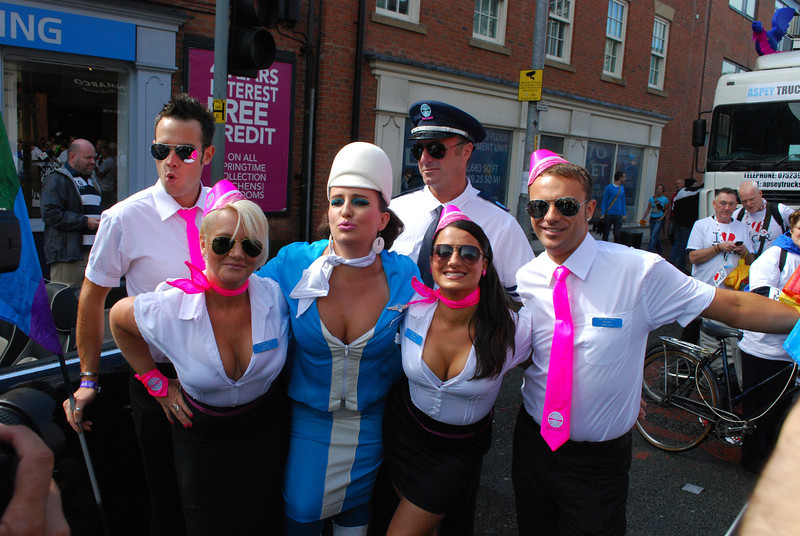 2011 Manchester Pride Grand Marshal Pam Ann and her flight crew before the parade.