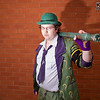Cosplay, Cosplayer, Male, Manchester Summer Mini Con, DC Comics, Comics, TV, Film, Video Games, Batman, The Riddler, Suit, Shirt, Pants, Tie, Jacket, Gloves, Boots, Bowler Hat, Walking Cane, Question Mark, White, Purple, Green, Black, Glasses