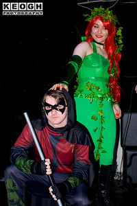 Cosplay, Cosplayers, Male, Female, Manchester Summer Mini Con, DC Comics, Comics, Film, TV, Video Games, Batman, Robin, Poison Ivy, Armour, Suit, Pants, Top, Cape, Mask, Utility Belt, Staff, Corset, Boots, Vines, Gloves, Black, Red, Gold, Yellow, Silver, Green, Red.