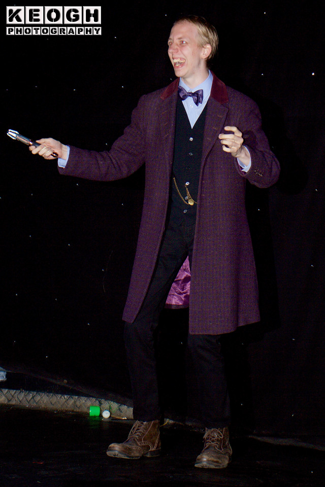 Cosplay, Cosplayer, Male, Manchester Summer Mini Con, Sci-Fi, TV, Film, Comics, Doctor Who, Sonic Screwdriver, Jacket, Shirt, Bow Tie, Pants, Waistcoat, Chain, Boots, Purple, White, Black, Gold, Brown, Silver