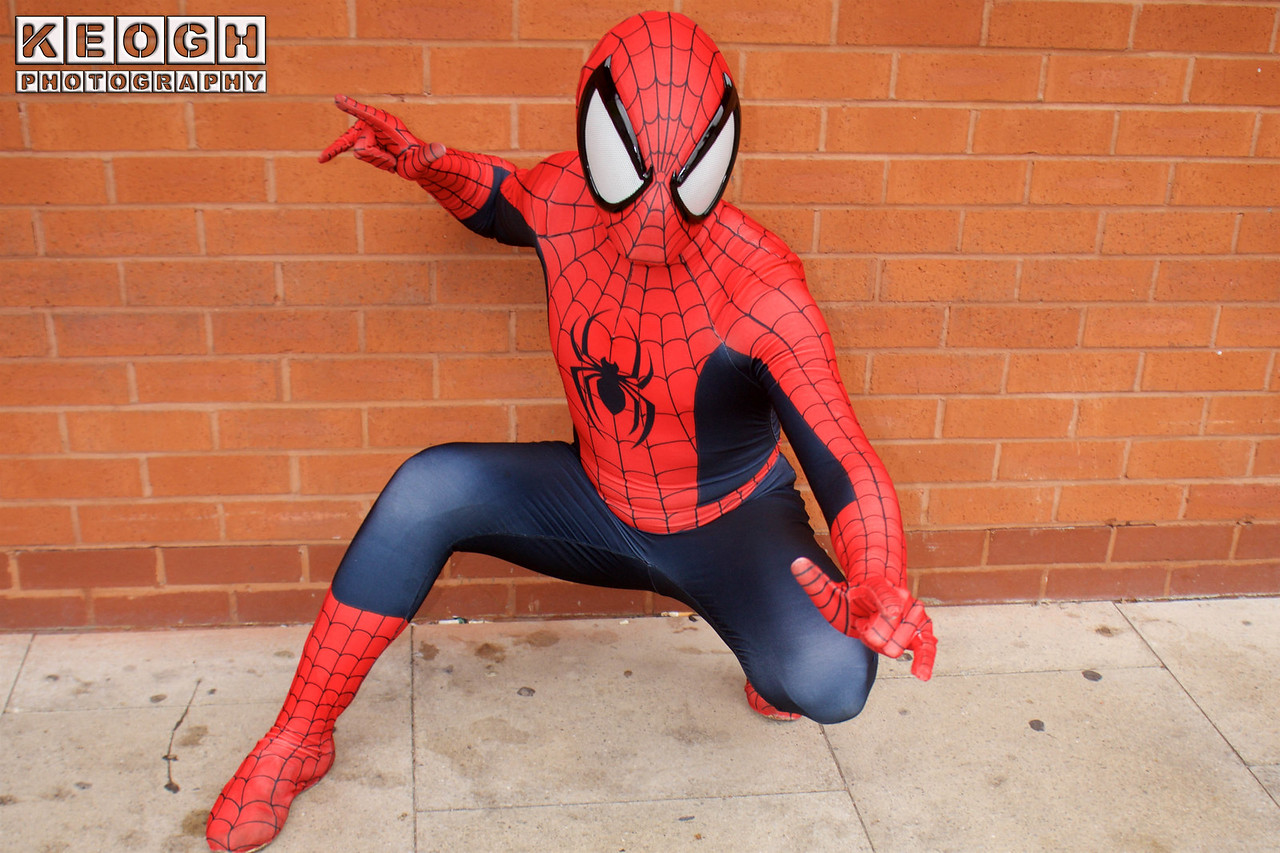 Cosplay, Cosplayer, Male, Manchester Summer Mini Con, Marvel Comics, Marvel, Comics, TV Film, Video Games, Spider-Man, The Amazing Spider-Man, Peter Parker, Spidey, The Avengers, Jump Suit, Mask, Spider, Boots, Gloves, Webs, Red, Blue, Black, White