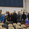 GREG SUKIENNIK -- MANCHESTER JOURNAL<br /> Voters line up for a paper ballot at Manchester Town Meeting on Saturday, March 3.