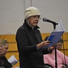 GREG SUKIENNIK -- MANCHESTER JOURNAL<br /> Sylvia Jolivette reviews the proposed fiscal 2019 Manchester budget at Town Meeting on Saturday, March 3.