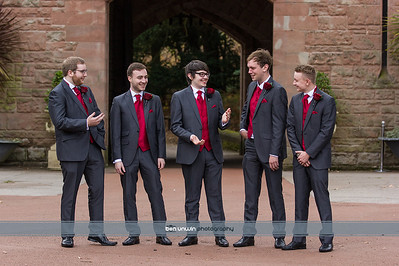 Groom and groomsmen laughing photography