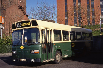 C-Line GMB667T Stockport Bus Stn Apr 91