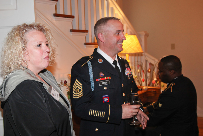 (FORT BENNING, Ga) Maneuver Center Captain's Career Course Students and Spouses attend a reception at the Commanding General's home, April 3, 2013 at Riverside. (Photo by Peter Dobson)