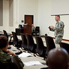 (FORT BENNING, Ga) Col. Buche, Special Assistant to the Director and Military Liaison for Defense Advanced Research Projects Agency (DARPA), speaks to Maneuver Captain's Career Course Students, Oct. 23, 2013 at the Maneuver Center of Excellence. (Photos by Ashley Cross/MCoE PAO Photographer)