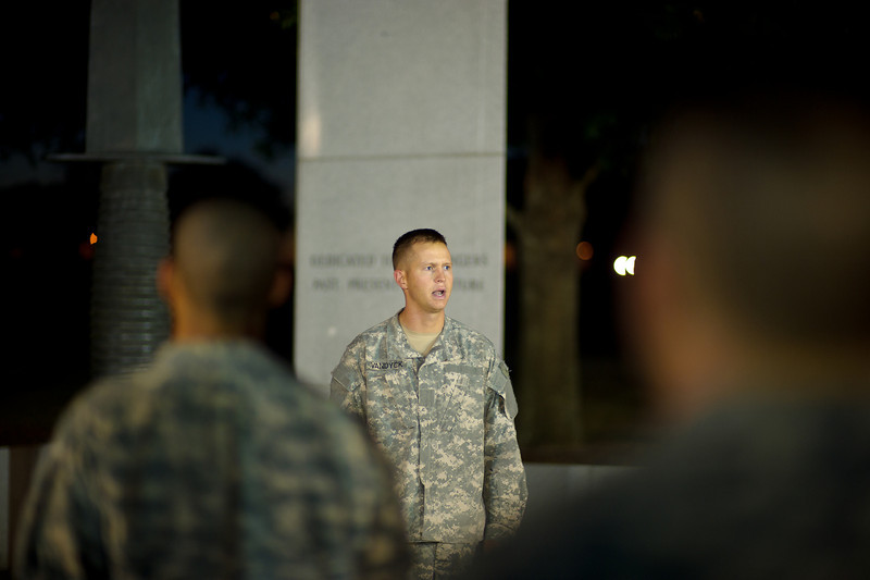 21 OCT 2010 - COL(R) Ralph Puckett inspires students during an early morning speech at the Ranger Memorial, Fort Benning, GA.  (Photo by John D. Helms/MCoE Photographer)