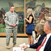 (FORT BENNING, Ga.) Capt. Brian Brennan assumes command from Capt. Kip B. Randall of the Headquarters and Headquarters Company of the Maneuver Center of Excellence Friday, Sept. 7, 2012 at the National Infantry Museum. (Photo by: Ashley Cross/MCoE PAO Photographer)