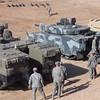 Rear of NAMER (left) and CV90 (Right). Turret Less Bradley on far right. Courtesy photo