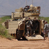 EXFOR soldiers trialing seating I rear of operational Bradley variant. Courtesy photo