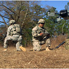 Soldiers from the 316th Cavalry Brigade launching the Sky Watch Huginn X1 small Unmanned Aerial System from Deutschmark Express during the AEWE Spiral I at Fort Benning, Georgia.